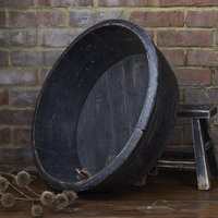 Vintage Large Round Black Wooden Basin