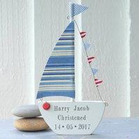 Personalised Christening Sailing Boat Gift