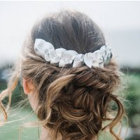 Silver Leather Wedding Hair Comb 'Tetra'