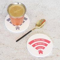 Personalised Wifi Ceramic Round Drinks Coaster, Grey/Pink/Orange