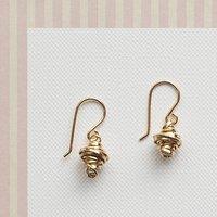Gold Coil Silver Drop Earrings, Silver