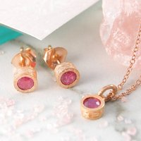 Ruby Rose Gold Birthstone Round Jewellery Set, Gold