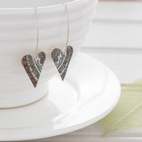 Green And White Paisley Pattern Long Heart Earrings