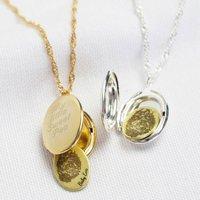 Personalised Fingerprint Oval Locket Necklace