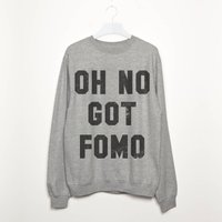 Oh No Got Fomo Women's Slogan Sweatshirt, Black/Grey
