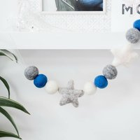 Blue / Grey Felt Ball Pom Pom And Star Garland