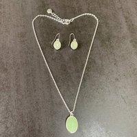 Matt Silver Aqua Chalcedony Necklace And Earring Set, Silver