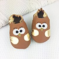 Personalised Metallic Owl Baby Shoes, Light Blue/Blue/Light Pink