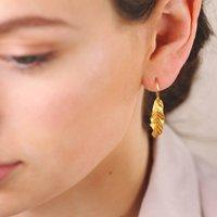 Gold Banana Leaf Drop Earrings, Gold