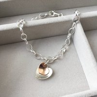 Silver And Rolled Rose Gold Hearts Bracelet, Silver