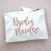 Bridesmaids Rose Gold Glitter Make Up Bag