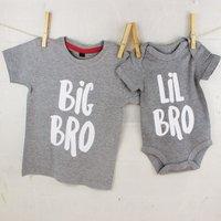 Big Bro Lil Bro / Big Sis Lil Sis Set, Grey/White/Navy