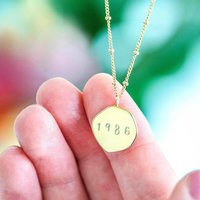 Personalised Gold Sterling Silver Birth Year Necklace, Silver