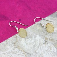 9ct Gold Disc Earrings On Silver Hooks, Silver