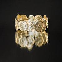 Embossed Gold Coin Stretch Bracelet, Gold