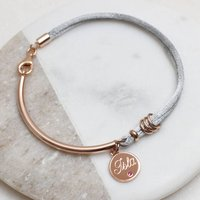 Silk And 18ct Rose Gold Birthstone Bangle, Gold