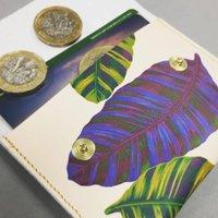 Leather Purse Banana Leaf Tropical Print