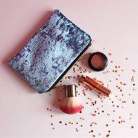 Crushed Velvet Makeup Bag, Gold