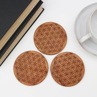 Drinks Coasters With Flower Of Life Design, Set Of Four