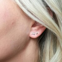 Silver Pyramid Stud Earrings, Silver