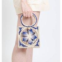 Flower Toquilla Straw Canasta Handbag