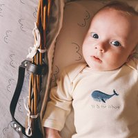 W Is For Whale Embroidered Natural Baby Bodysuit
