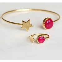 Gold Star And Tourmaline Bangle And Ring Set, Gold