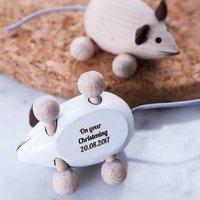 Personalised Christening Keepsake Mouse, White