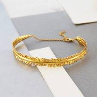 Gold Textured Nature Leaf Adjustable Cuff Bangle, Gold