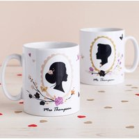 Set Of Two Romantic Silhouette Mr And Mrs Mugs