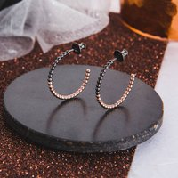 Small Two Tone Beaded Hoop Earrings, Black/White/Rose Gold