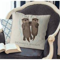 Personalised Otter Couple Gift Cushion