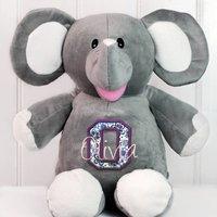Personalised Monogram Elephant Soft Toy, Purple/Fuchsia/Light Pink