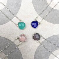 Silver Semi Precious Teardrop Gemstone Necklace, Silver