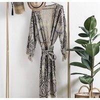 Natural And Black Aztec Cotton Full Length Robe