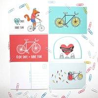 Cycling Postcard Set Of Five