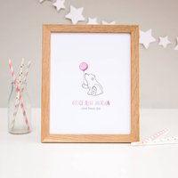 Baby Bear New Baby Girl Personalised Nursery Print