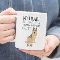 Personalised My Heart Belongs To A German Shepherd Mug
