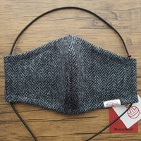 Charcoal And Grey Herringbone Harris Tweed Face Mask