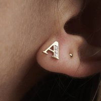 9ct Gold Initial Earrings, Gold