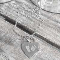 Personalised Heart Hand And Foot Print Necklace