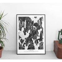 Monochrome Cactus Expert Art Print