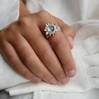 Sterling Silver Sunflower Ring, Silver