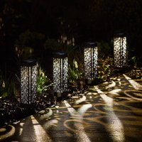 Set Of Four Solar Moroccan Bollard Lights