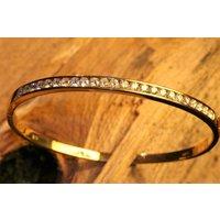 18ct Yellow Gold Diamond Bangle Bracelet, Gold