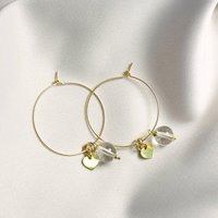Pia Gold Heart And Quartz Hoop Earrings, Gold