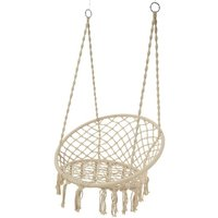 Cream Macrame Hanging Garden Chair