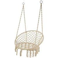 Cream Macrame Hanging Garden Chair