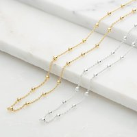 Sterling Silver Satellite Chain Necklace, Silver