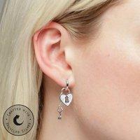 Heart Padlock And Key Huggie Hoop, Single Earring